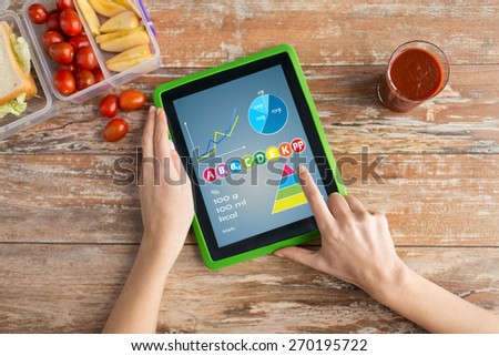 healthy eating, vitamins, dieting, technology and people concept - close up of woman hands with tablet pc computer and food in plastic container on table counting calories at home - stock photo