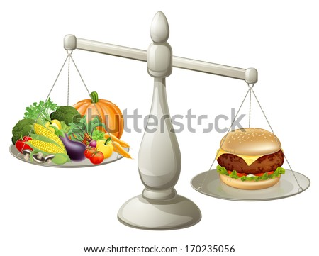 Healthy eating will power concept, healthy food on one side of scales and fast food burger on the other. Burger is weighing more. - stock photo