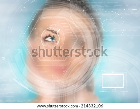healthy eyes of a young girl (laser medicine and security technology concept) - stock photo
