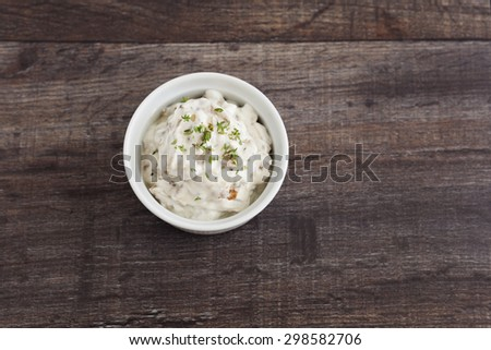 Healthy fat free Greek yogurt dip with caramelised onion and fresh herb thyme.