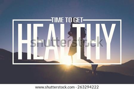 Healthy Fit Diet Activity Sport Lifestyle Purpose Concept - stock photo