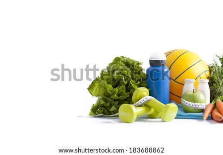 healthy food and sport equipment isolated on white - stock photo