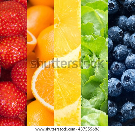 Healthy food backgrounds, five images of lemons, blueberries, salad, strawberries and oranges - stock photo