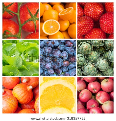 Healthy food backgrounds, nine images of strawberries, lemons, tomatoes, salad, apples, plums, artichokes, pumpkins and oranges - stock photo
