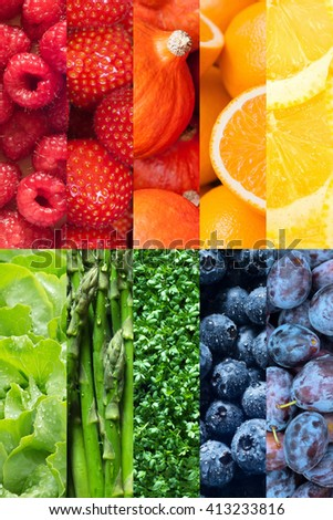 Healthy food backgrounds, rainbow colors, ten images of strawberries, lemons, asparagus, raspberries, plums, blueberries, pumpkins, lettuce, cress and oranges - stock photo