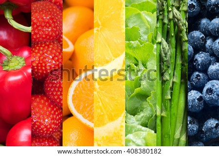 Healthy food backgrounds, seven images of lemons, asparagus, blueberries, paprika, salad, strawberries and oranges  - stock photo