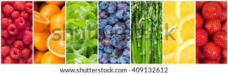 Healthy food backgrounds, seven images of lemons, plums, asparagus, raspberries, lettuce, strawberries and oranges - stock photo
