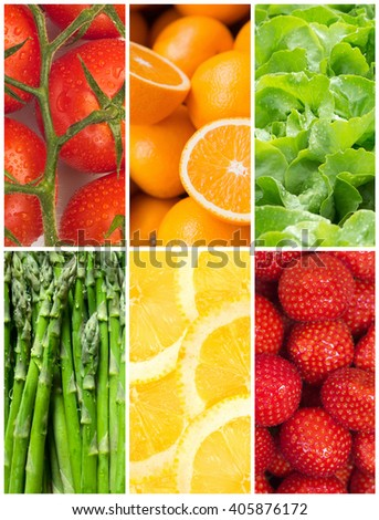 Healthy food backgrounds, six images of lemons, asparagus, tomatoes, salad, strawberries and oranges - stock photo