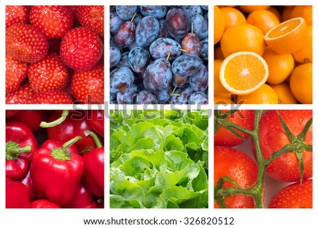 Healthy food backgrounds, six images of strawberries, tomatoes, salad, plums, paprika and oranges