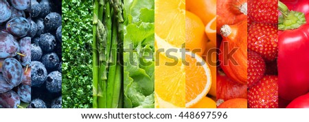 Healthy food backgrounds, ten images of strawberries, lemons, asparagus, paprika, plums, blueberries, pumpkins, lettuce, cress and oranges - stock photo