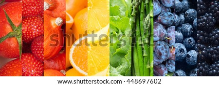 Healthy food backgrounds, ten images of strawberries, lemons, asparagus, tomatoes, plums, blueberries, pumpkins, lettuce, blackberries and oranges - stock photo