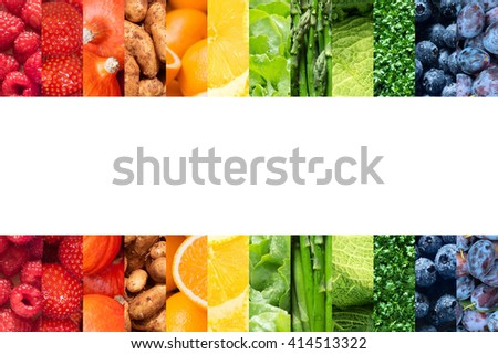 Healthy food backgrounds, twelve images of strawberries, lemons, asparagus, raspberries, plums, blueberries, pumpkins, lettuce, cress, potatoes, savoy cabbage and oranges, copy space in the center - stock photo