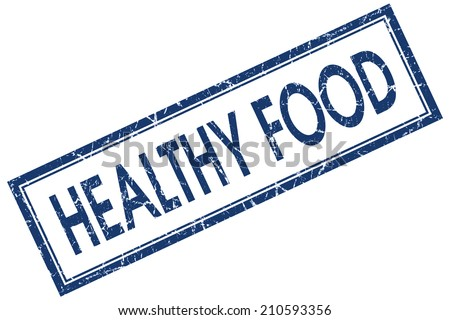 Healthy food blue square grungy stamp isolated on white background - stock photo