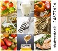 healthy food collage made from nine photographs - stock photo