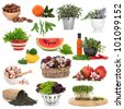 Healthy food collection high in antioxidants and vitamins isolated over white background. - stock photo