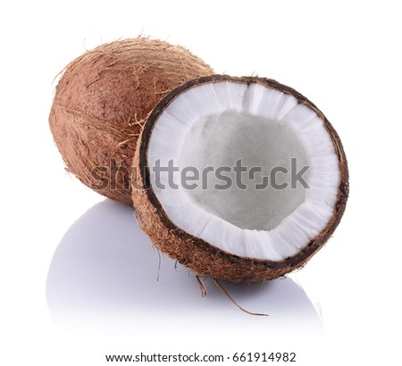 half of coconut coconut cut half seed start grow stock photo 8401588 shutterstock