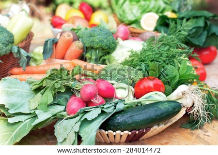 Healthy food - fresh organic fruits and vegetables - stock photo