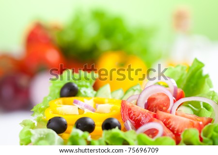 healthy food fresh vegetable salad and fork - stock photo