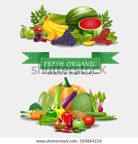 Healthy food, fruits and vegetables, illustration