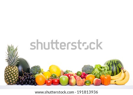 Healthy food - Fruits and vegetables isolated on white background, much space for own text - stock photo