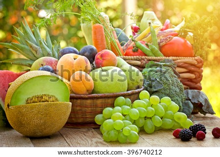 Healthy food, healthy eating - fresh organic fruits and vegetables - stock photo