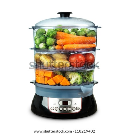 Healthy food in steamer, steam cooker with various vegetables isolated on white - stock photo