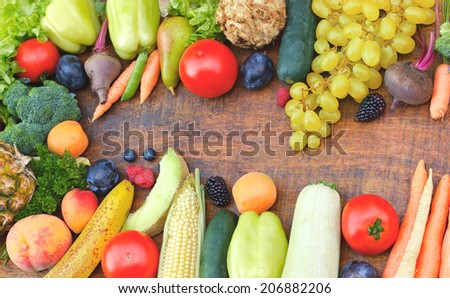 Healthy food - organic fruits and vegetables - stock photo