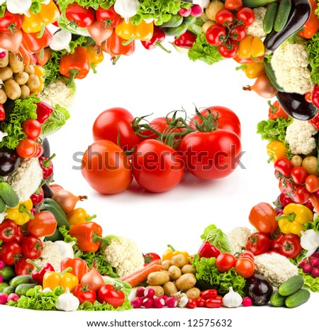 Healthy food - tomatoes. With bright vegetable frame - stock photo