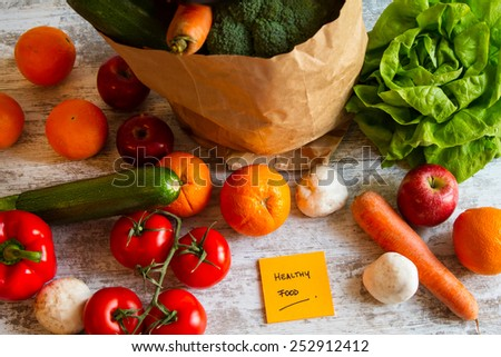 Healthy food,  vegetables and fruits  - stock photo