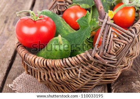 Healthy food vegetables, Organic vegetable, own harvest in a basket