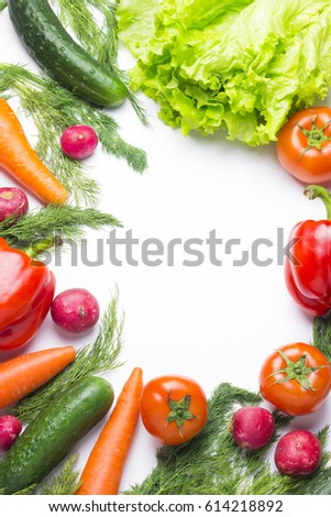 Healthy food, vitamins, white background with various ingredients of fresh vegetables and fruits, top view