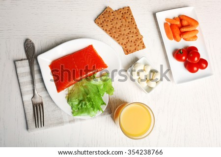 Healthy foods on light wooden background. Healthy eating concept.  - stock photo