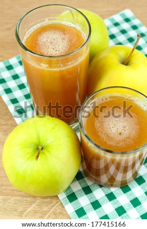 Healthy fresh juice of apples close up - stock photo