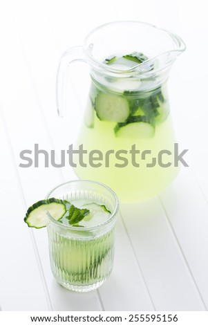 healthy fresh juice of cucumber - stock photo