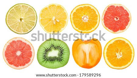 Healthy Fruit Slices Collection Isolated On White