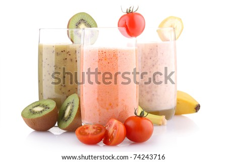 healthy fruit smoohties isolated on white - stock photo