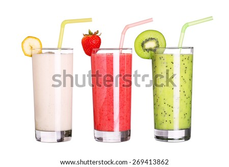 healthy glass of smoothies collection flavor isolated on white background - stock photo