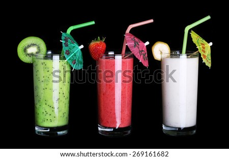 healthy glass of smoothies collection flavor on black background - stock photo