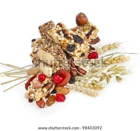 Healthy granola muesli isolated on white background - stock photo