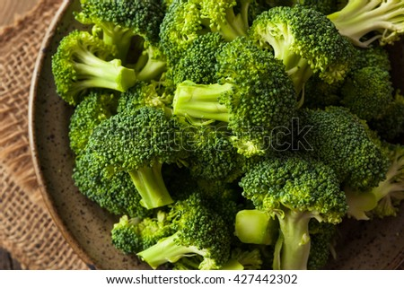 Healthy Green Organic  Raw Broccoli Florets Ready for Cooking - stock photo