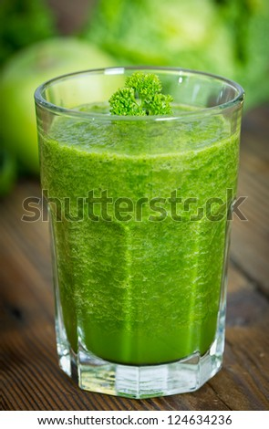Healthy green smoothie - stock photo