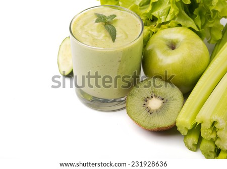Healthy green smoothie, vegetables and fruits isolated on white background - stock photo