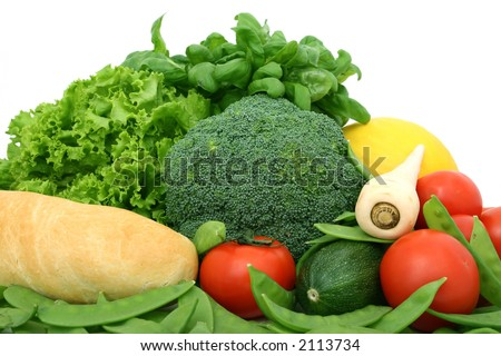 healthy groceries, oregano, melon, bread, cherry tomatoes isolated on white - stock photo