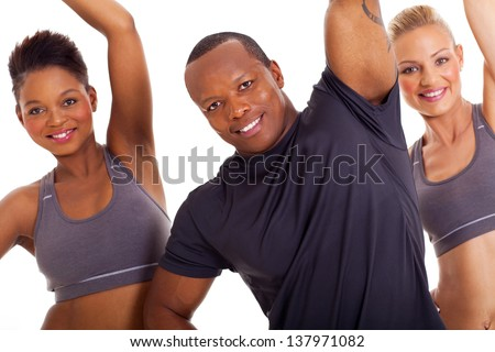 healthy group stretching arms isolated on white background - stock photo