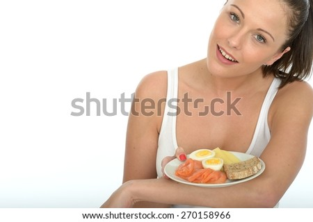 Healthy Happy Attractive Young Woman Holding a Typical Norwegian or Scandinavian Breakfast - stock photo
