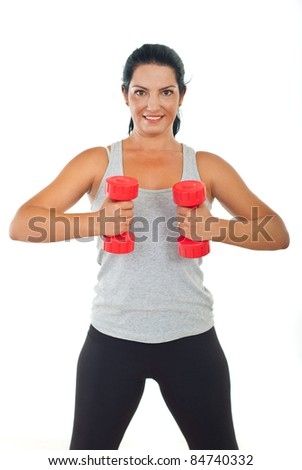 Healthy happy woman doing fitness with red barbell isolated on white background - stock photo