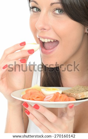 Healthy Happy Young Woman Holding a Plate of Norwegian or Scandinavian Style Breakfast - stock photo