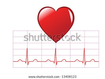 Healthy heart illustration showing red heart stock illustration healthy heart illustration showing a red heart over a healthy sinus rhythm cardiac trace isolated on ccuart Choice Image