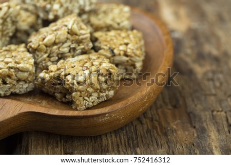 Healthy homemade bars with seeds and honey