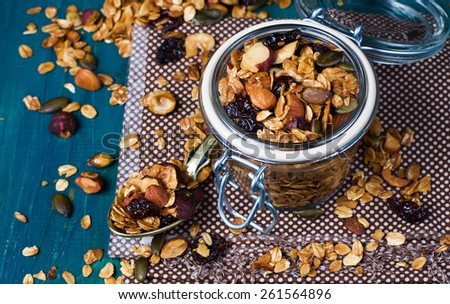 Healthy homemade granola with nuts and dried cranberries. Selective focus - stock photo